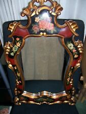 """CLASSIC HAND CARVED WOOD MIRROR RED BLACK GOLD FLORAL DESIGNS 27""""H x 17.5"""" W"""