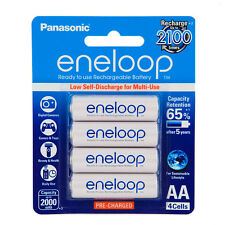 4 Panasonic eneloop rechargeable AA batteries HR06 Ni-MH 2000mAh BK-3MCCE/4BA