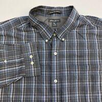 Eddie Bauer Button Up Shirt Men's 2XL XXL Long Sleeve Multi Plaid Wrinkle Free