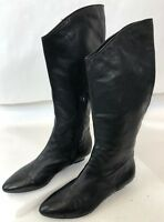 Calvin Klein Ladies Black Leather Knee High Leather Equestrian Riding Boots Sz 7