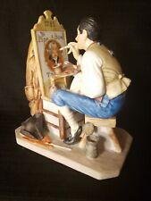 Gorham Old Sign Painter Norman Rockwell Figurine Porcelain Limited