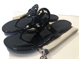 Tory Burch Miller Black Patent Leather Thong Sandals Sz 9 M With New Dust Bag