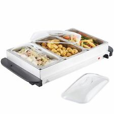 New 3 Pan Food Warmer Buffet Server Hot Plate 3 Tray Adjustable Temperature 300W