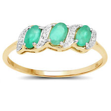 9CT  GOLD 0.77ct GENUINE EMERALD & DIAMOND ETERNITY ENGAGEMENT RING SIZE K to W