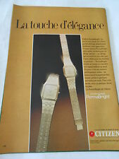 PUBLICITE 1982  Montre Citizen La touche d'élégance