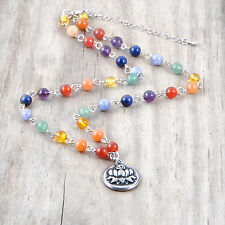Gemstone Chain 7 Chakra Necklace, Stainless Steel LOTUS, OHM, Pendant, Reiki