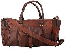 "24""Vintage Genuine Brown Leather Duffel Gym Sports Bag Travel Luggage Handmade"