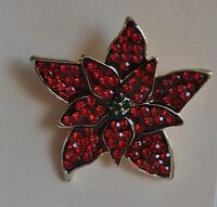 KIRKS FOLLY  CHRISTMAS POINSETTIA FLOWER PIN IN GOLD TONE