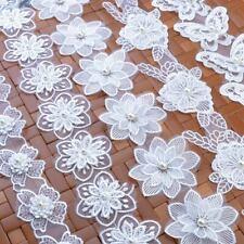 Vintage Flower Pearl Lace Edge Trim Wedding Ribbon Applique DIY Sewing Craft