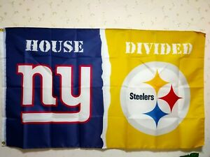 New York Giants Pittsburgh Steelers House Divided Flag 3X5 FT NFL Banner Polyest