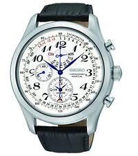Seiko Men's SPC131P1 Neo Classic Alarm Perpetual Chrono Leather Strap Watch
