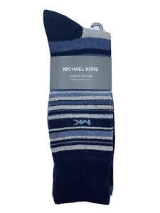 Michael Kors 3 pack navy blue striped dress crew socks sock size 10-13