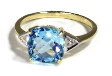 9ct gold Sky blue topaz & diamond ring cushion cut, UK size O, new, actual one.