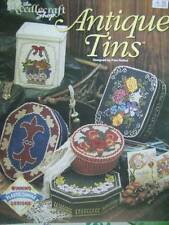 Antique Tins Plastic Canvas Craft Book With 5 Designs- Fleur De Lys, Flowers