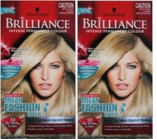 2 x SCHWARZKOPF BRILLIANCE PERMANENT HAIR COLOUR 10 COOL CRYSTAL BLONDE NEW