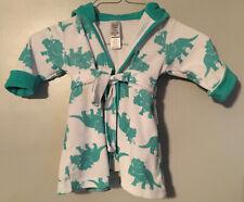 Carter's Baby Boy Hooded Dino Dinosaur Print Hooded Terry Bath Robe Sz 0-9 Mos