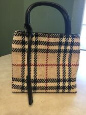 Authentic Burberry Mini Beige Haymarket Check Black Leather Strap w/ dust bag