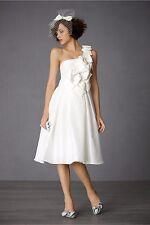BHLDN Anthropologie Ivory Afternoon Social Wedding Dress Size 4 One Shoulder