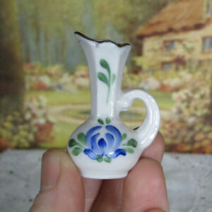 Vtg Dollhouse Porcelain BLUE FLORAL VASE Miniature Mid Century Ceramic Painted