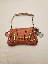 Rina Rich Vintage Horse-bit Design  Handbag Brown Leather Clutch Studs