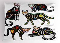 Sugar Skull Pillow Sham Ornate Black Cats Printed Pillowcase 30 x 20 Inches