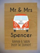 Personalised Oak VW Campervan Wedding Gift sign - Volkswagen Split Screen Camper