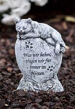 Grabschmuck Katze Haustier Grab mit Inschrift Steinguss frostfest wetterfest