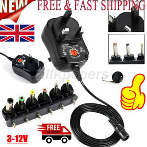 UK AC/DC 3-12V Power Supply Adapter Charger Transformer 12W + 6 Tips Universal