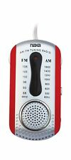 New NAXA Portable AM/FM Mini Pocket Radio with Built-In Speaker RED