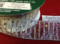 CHRISTMAS WIRE EDGED RIBBON - SILVER  WITH SPARKLY SEQUINS