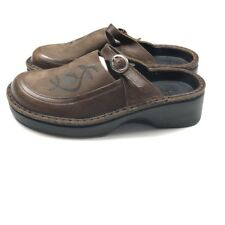 NAOT Womens 36 Brown Mules Strappy Leather Slides Floral Slip Ons Shoes