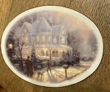 "Thomas Kinkade ""A Holiday Gathering"" Trivet - 2000 Hallmark Christmas Gold Trim"