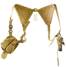 Every Day Carry Tactical Under Arm Shoulder Holster w/Double Mag Pouch - TAN