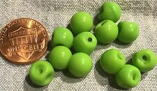 "12 Small Shiny Lime Green Glass Ball Buttons Germany Almost 3/8"" 9mm # 8177"
