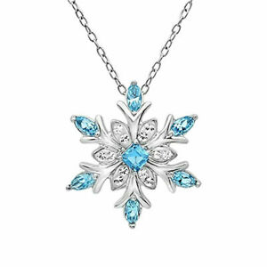 Small Blue Silver Crystal Snowflake Flower Necklace Pendant Christmas Gift