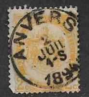 BELGIUM POSTAL ISSUE, USED DEFINITIVE STAMP 1893- HERALDY, NO TABLET, 2c YELLOW