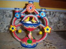 Vtg Mexico Mexican Pottery Candle Holder Bird Birdbath Tree of Life Candelabra