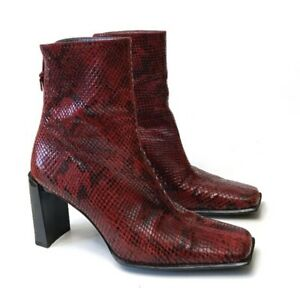 Stuart Weitzman Red Snakeskin Print Leather Square Toe Ankle Boots Womens Size 6