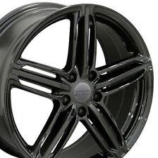 "18"" Wheels For Audi A4 A6 A8 Q5 VW CC Lux Rims 18x8 +45 5x112 Black Rims Set 4"