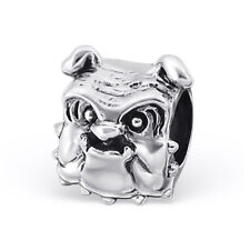 TJS 925 Sterling Silver Bead Dog Bulldog Charm for European Bracelet Necklace