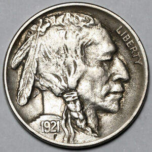 1921 UNITED STATES COPPER NICKEL INDIAN HEAD BUFFALO NICKEL 5 FIVE CENT COIN