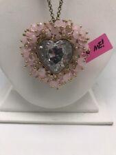 $65 Betsey Johnson gold tone woven pink beaded heart  & arrow long necklace Bp1C