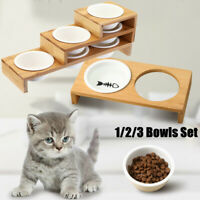 Bamboo Elevated Raised Stand Pet Dog Cat Feeder Ceramic Bowls Food Water Dish
