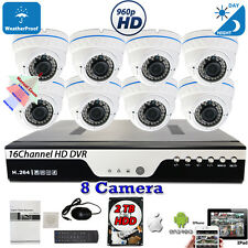 16 Channel HD DVR 8 pcs HD Outdoor Indoor Home CCTV Security Camera System W/2TB