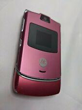 Motorola Razr V3 - Pink/Magenta At&T/Cingular Cellular Flip Phone No Battery