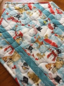 Handcrafted-Quilted Table Runner - Snowflakes & Snowmen Galore + Wildlife