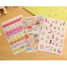 6 Sheets Rabbit Diary Book Sticker Scrapbook Calendar Notebook Label Cute to