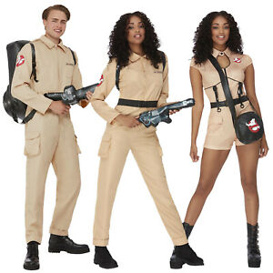 Adult Ghostbusters Costume Halloween 80s Mens Ladies Fancy Dress Ghost Busters