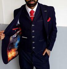 Mens Cavani Fabian Navy 3 Piece Formal Suit Tailored Fit