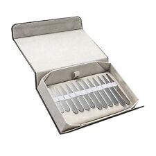 12 Mirror Collar Stays For Men Shirts 3 Various Sizes In Leather Black Gift Box